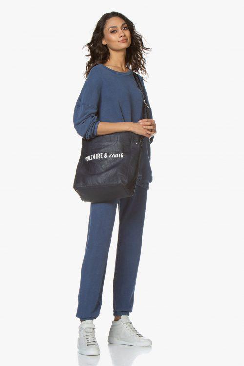Vintage blue oversized collagegenser og sweatpants American Vintage - hapy87 vintage / hapy89 vintage (98% bomull, 2% elastan)
