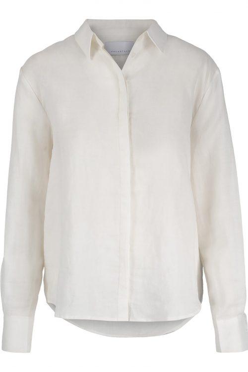 Hvit eller pale blue lin/bomull skjorte One&Other - telma
