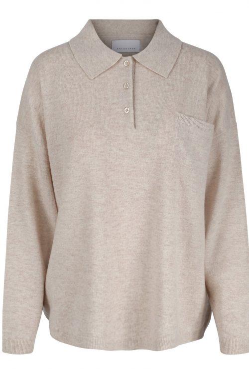 Oatmeal melange merino/cashmere skjortegenser One&Other - cara