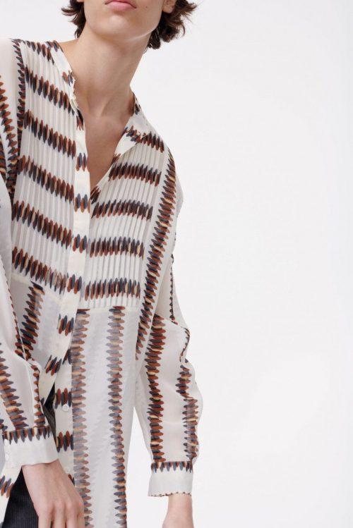 Grafisk print transparent viskose lang skjorte Munthe - erick