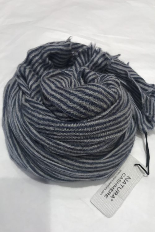 Small stripe blue light grey elastisk og superlett 'Luxury' 100% italiensk cashmere skjerf Natura Cashmere - luxury scarf 100*160 cm