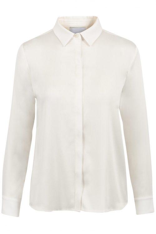 Navy, offwhite og light camel silkeskjorte One&Other - Audrey