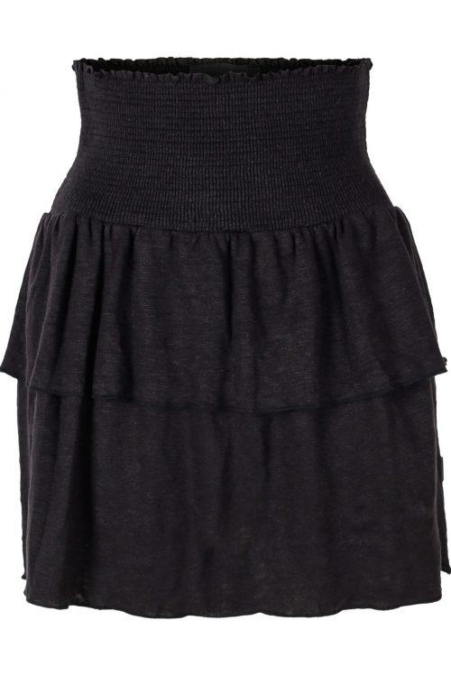 Beige eller sort linjersey skjørt med kapper Ella&Il - Lisbet linen skirt