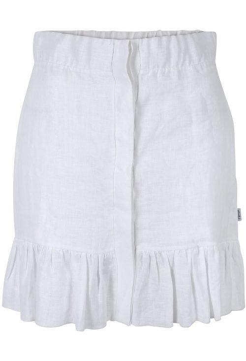 Hvit eller sort linskjørt med skjult lukning i front Ella&Il - Hana linen skirt