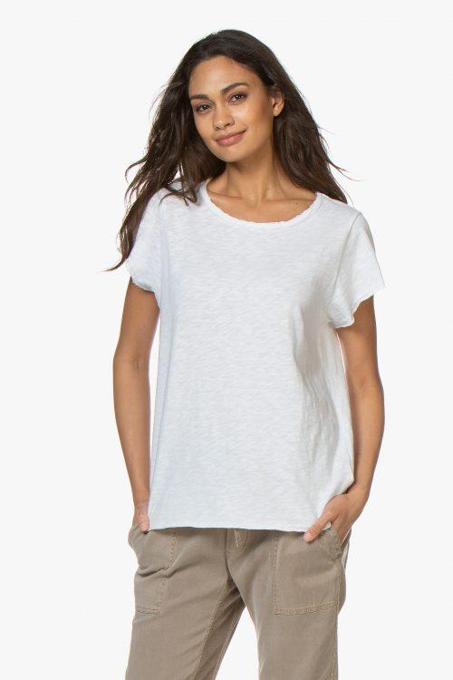 Rosa, oliven og hvit t-shirt med råkant American Vintage - son30T