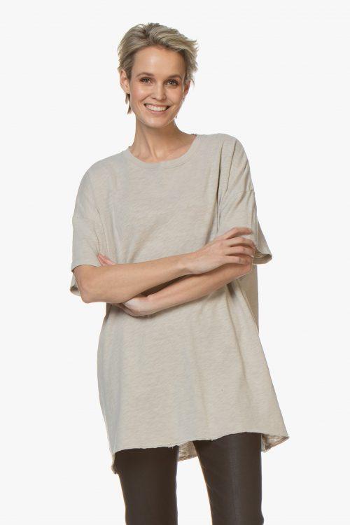 Beige eller smaragdgrønn oversized lang bomull t-shirt American Vintage - son33B