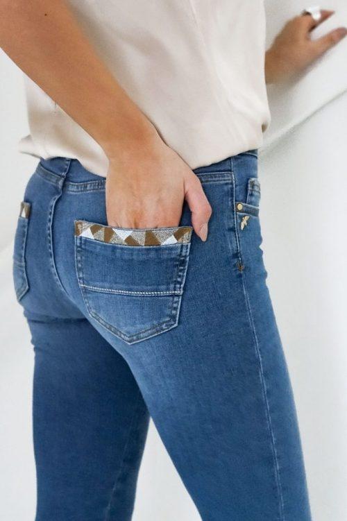 Light blue smal jeans med flott dekor på baklommer Mos Mosh – 131480 sumner decor jeans