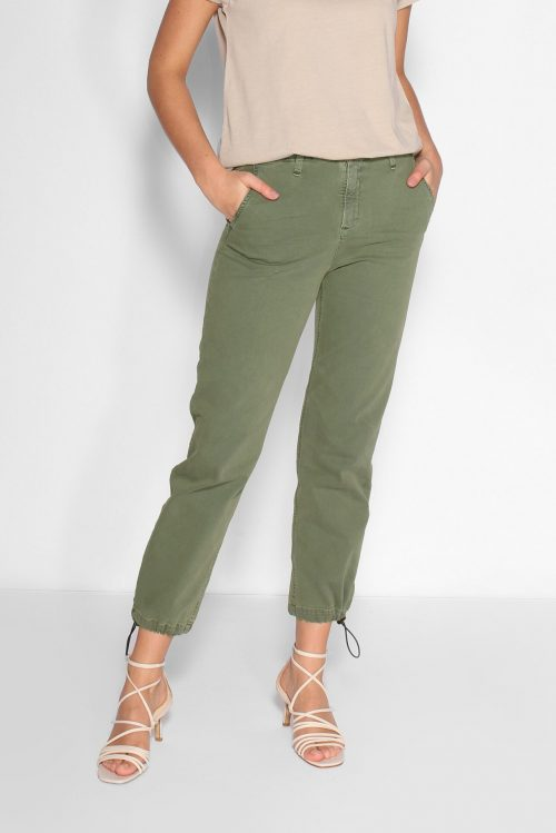 OMG! Mosegrønn supertrendy bukse med snøring nederst i recycled bomullstwill Lois Jeans - caitlin 2555-6090 recycled twill L32