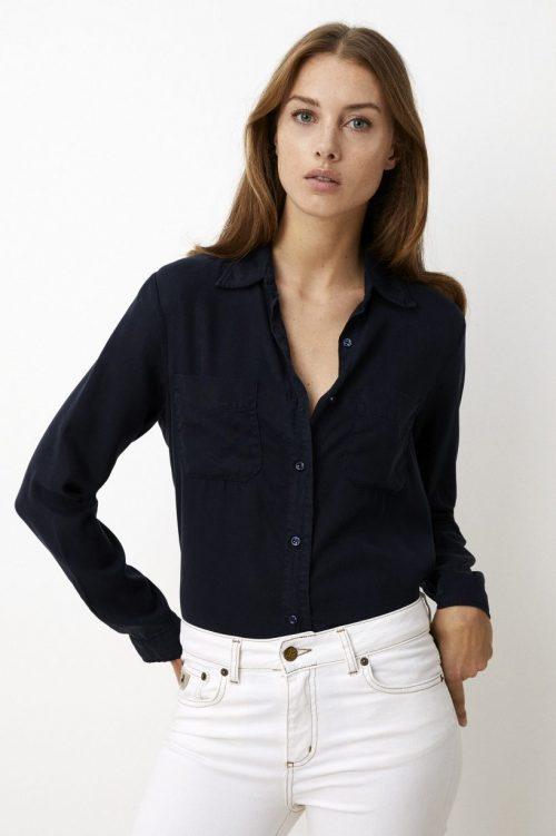Marine eller sand viskose skjorte med brystlommer Lois Jeans - shiloh blouse 2464-5952 maikai biscuit