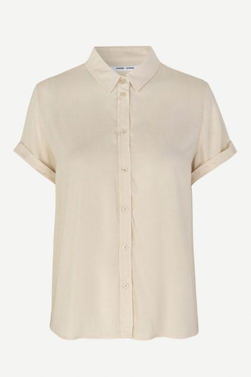 Dueblå, warm white eller misty rose viskose skjorte med kort erm og legg bak Samsøe - 9942 majan ss shirt