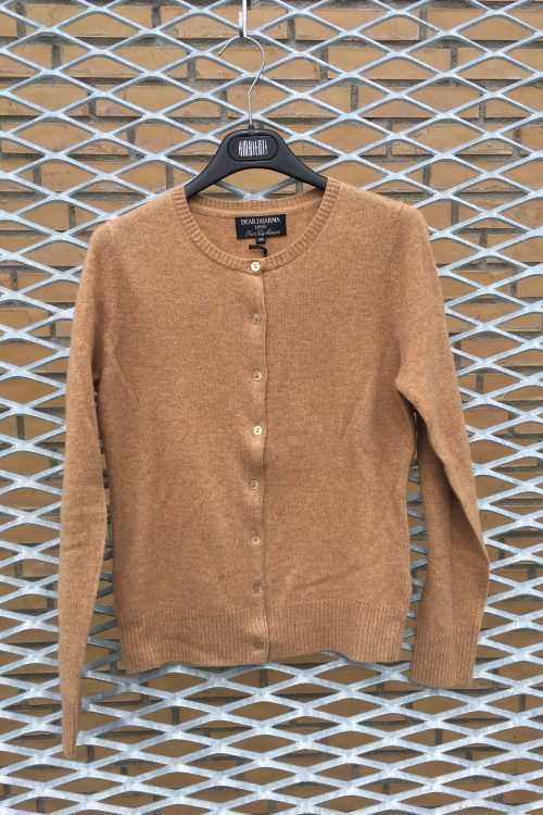 Broken white, camel og khakimelert cashmere cardigan Dear Dharma - classic cardigan