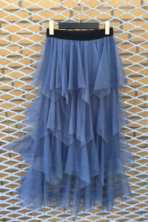 Dus rosa, jeansblå, marine eller khaki langt tyllskjørt Bæltekompagniet -skirt2