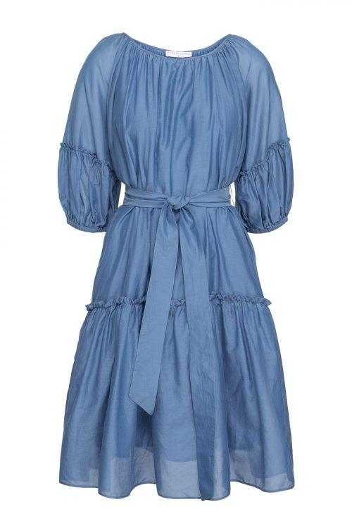 Denim blue silke/bomull kjole med voluminøse ermer og belte Cathrine Hammel - 268.120 sheer midi short sleeve
