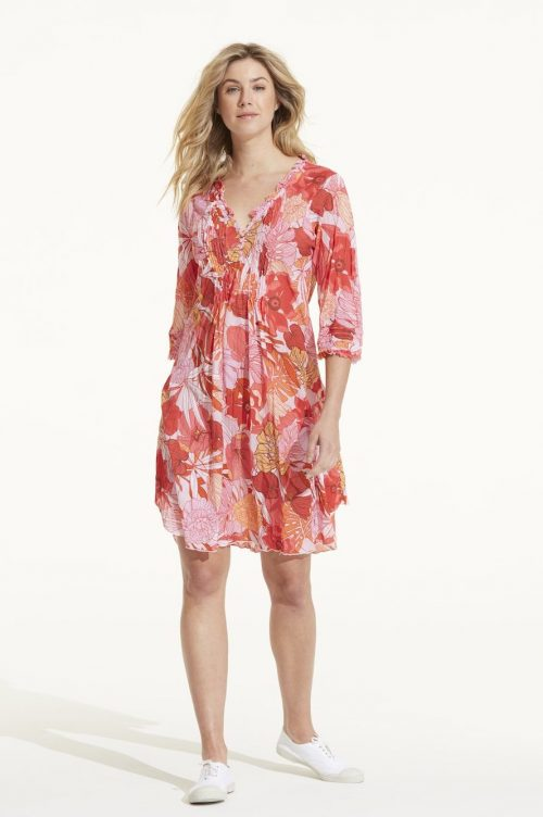 Korallmønstret kjole OneSeason - Mid Poppy Coral