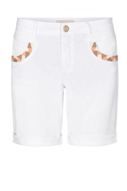 Orange, oil green eller hvit lin/bomull shorts Mos Mosh - 133740 naomi decor