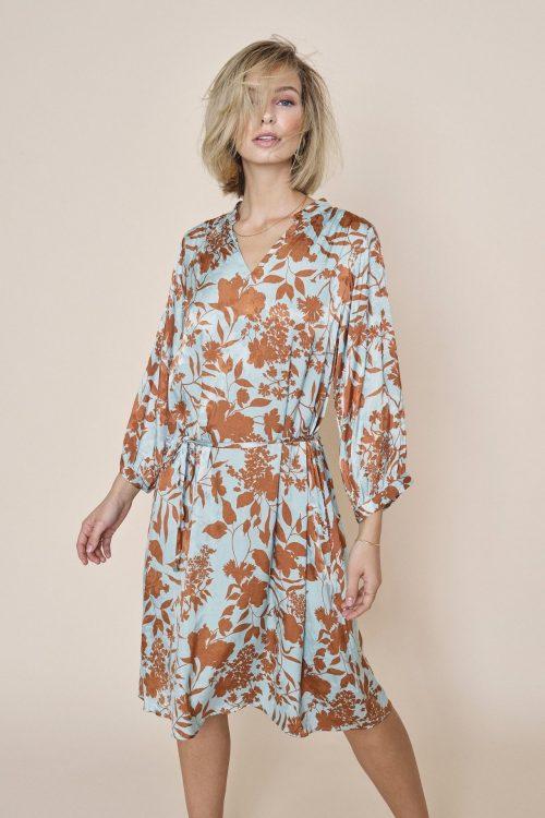 Mint med cognac print viskose kjole Mos Mosh - 132073 renata stencil dress