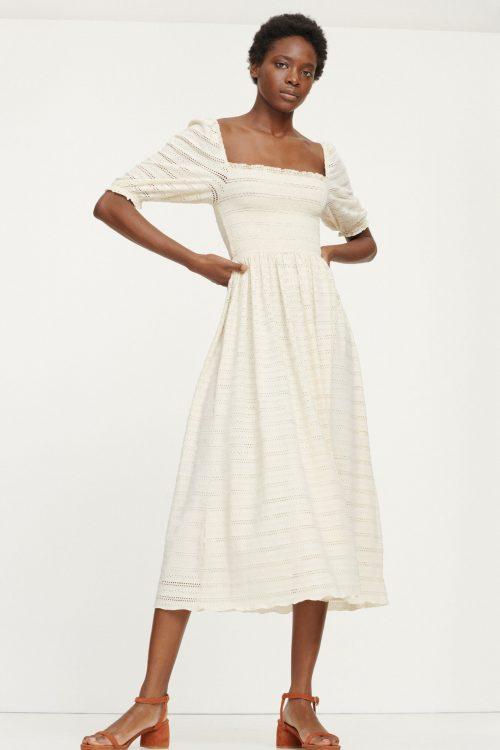 Kremfarget lang kjole Samsøe - 12704 pia dress