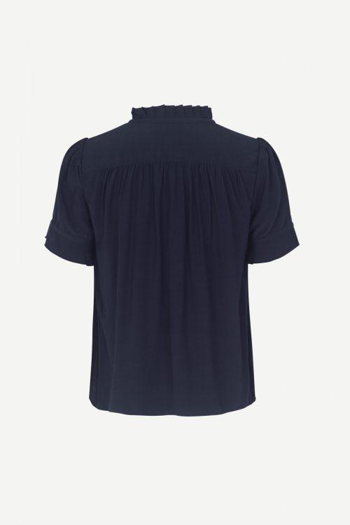 Navy søt viskose bluse med volangkant Samsøe - 10864 rosella shirt