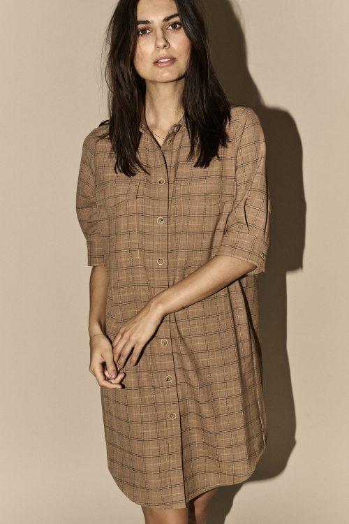 Camelrutet flanell skjortekjole med 3/4 erm Mos Mos - 135150 Katy Creol Dress