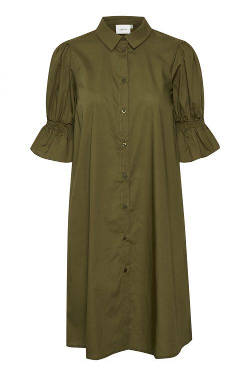 Armygrønn organisk bomull kortermet kjole med belte Gestuz - cassia dress