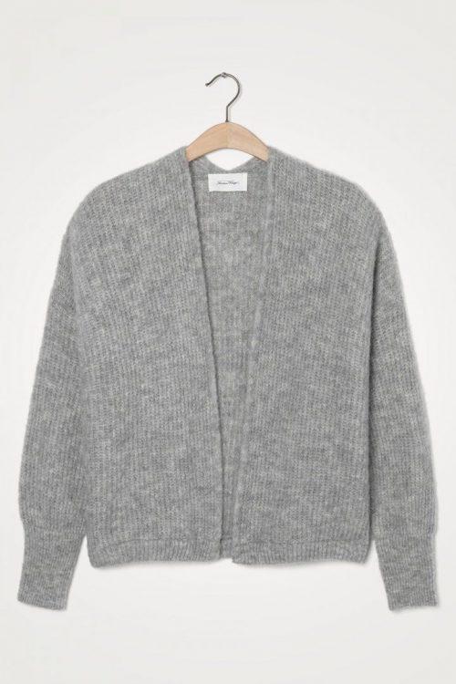 Lys gråmelert alpakka-ull-miks cardigan American Vintage - east19A