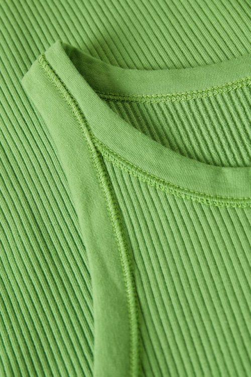 Tapenade, hvit, sort eller sterk grønn ribbet bomull singlett Gestuz - rolla sl jersey top