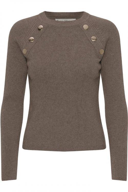 Sort eller taupe cashmere/ull genser med knapper Dear Dharma - goldie