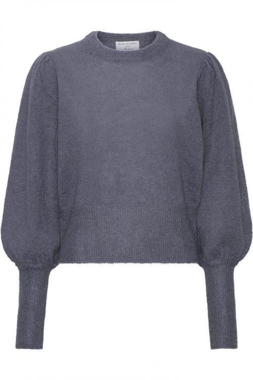 Trendy sort, gråblå eller beige mohairmix genser med puff Dear Dharma - puff