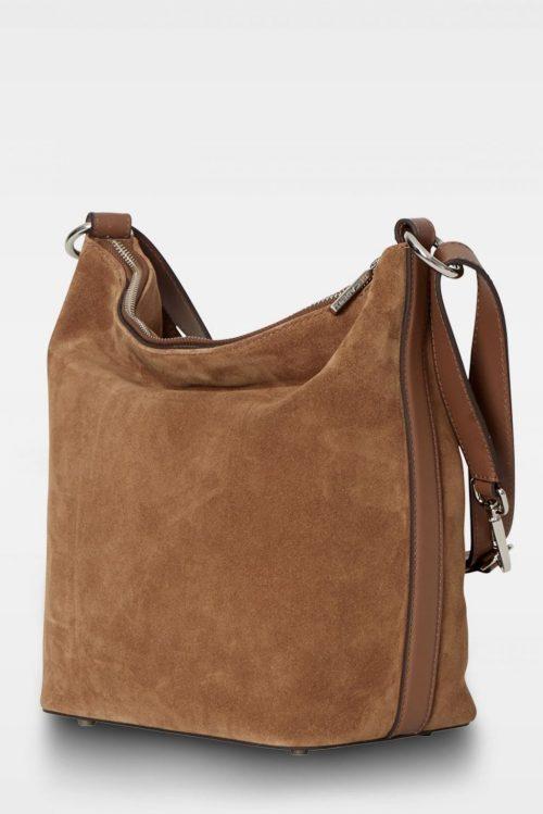 Suede cognac eller suede army myk skulderbag Decadent - 407 Sara small shoulder bag Bredde/høyde/dybde: 23/29/15 cm