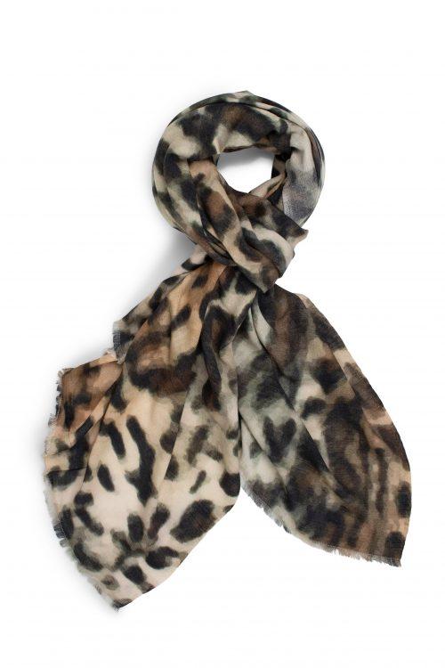 Leopard cashmere-ull-bomull skjerf Katrin Uri - 960 original leopard wool scarf