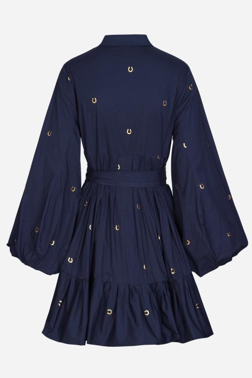 Indigo bomull kjole med ballongerm og gull hestesko print Munthe - luda 1313