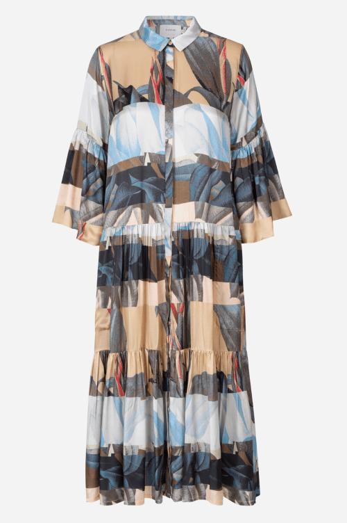 Camelsortblå mønstret silke/viskose oversized skjortekjole Munthe - lately 1322