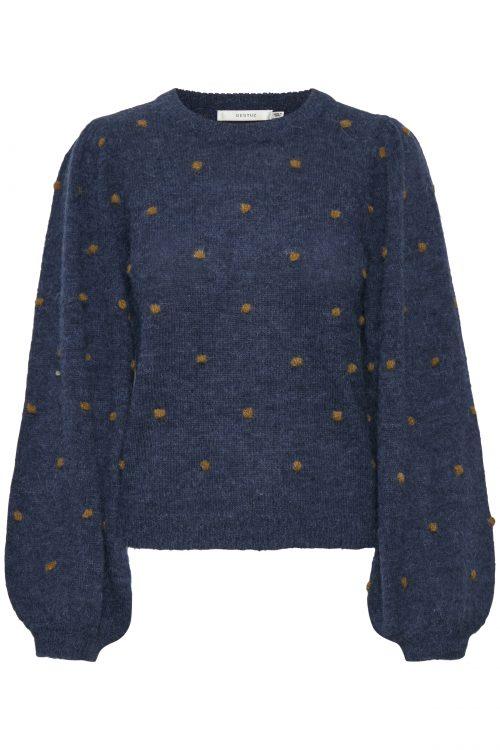 Blåmelange genser med ballongermer og dots Gestuz - 10904724 astan pullover