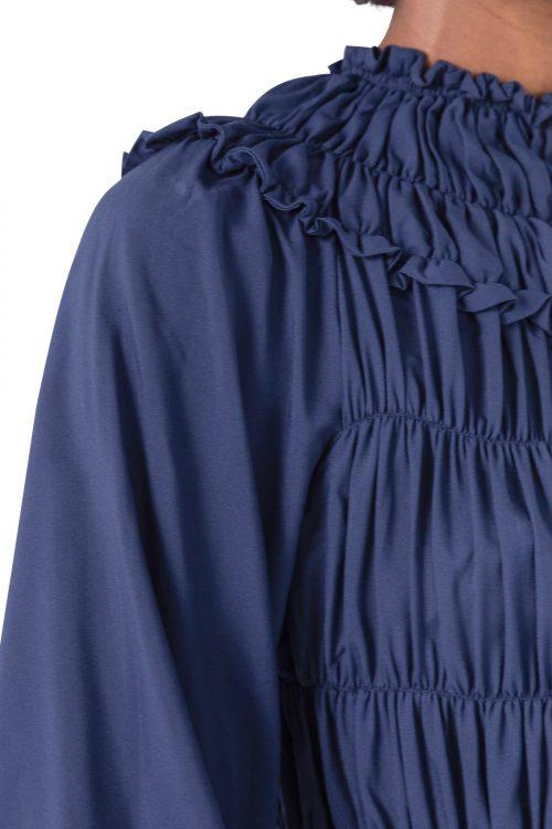 Blå eller sort rillet kjole Cathrine Hammel - 2542 gathered midi dress