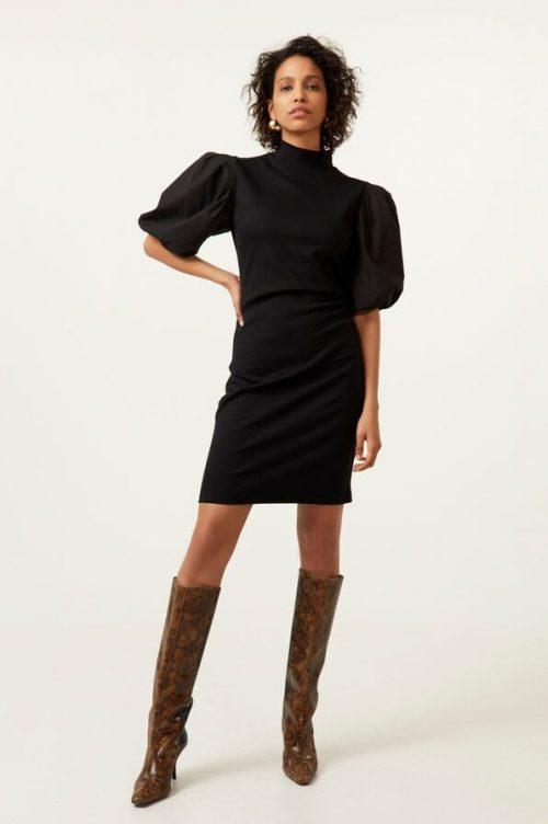 Sort kjole med pufferm Gestuz - 10904830 bima turtle neck dress
