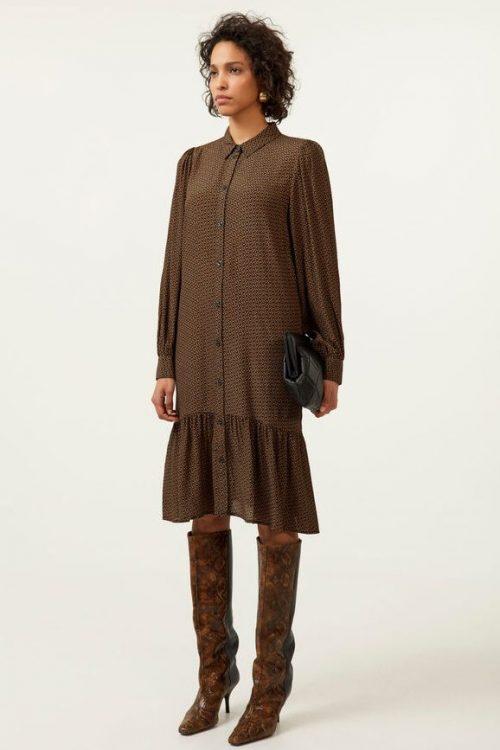 Brunsortmønstret viskose kjole med kappe Gestuz - 10904839 elay short dress