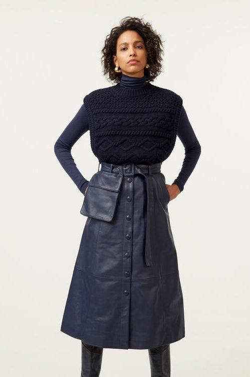 Navy ull/organisk bomull mønsterstrikket vest Gestuz - 10904841 lupia waist coat