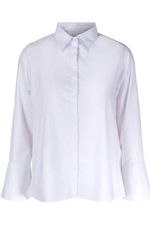 Hvit bomull skjorte med trompeterm, lenger bak i rygg Ella&Il - lisa