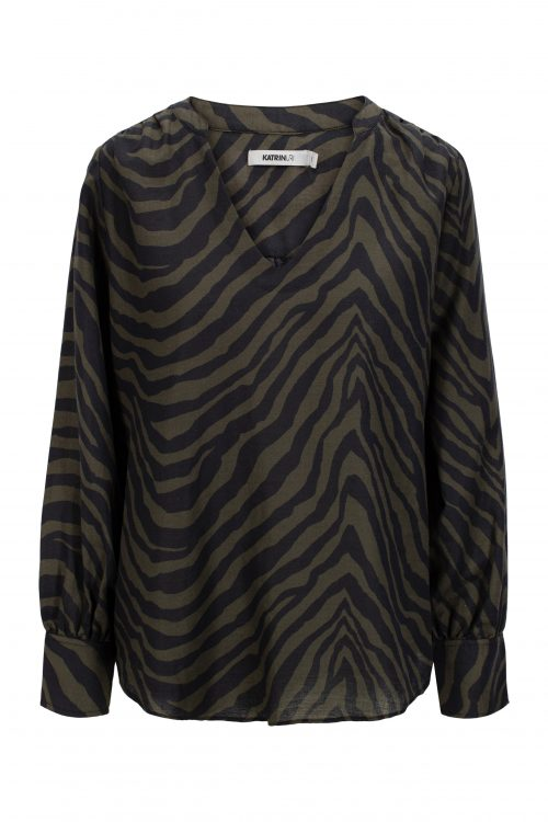 Olivensort stripet ramie/bomull bluse med v-hals Katrin Uri - 406 nami nairobi blouse