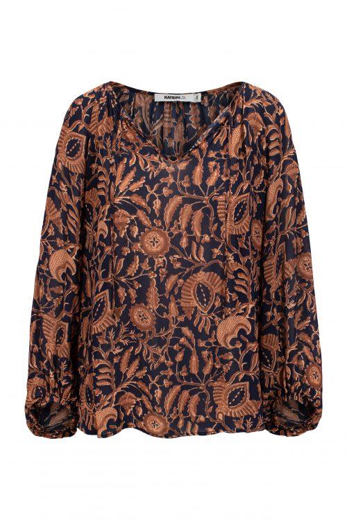 Navy tanderine viskose georgette bluse Katrin Uri - 431 west batik blouse