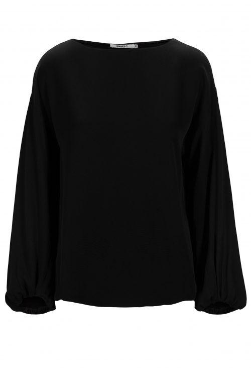 Sort hamret viskose bluse med ballongermer Katrin Uri - 432 athena hammered blouse