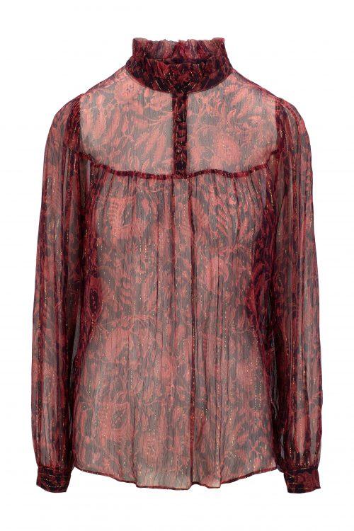 Burnt rose 100% silke krinklet chiffon med gulltråder - 440 vivienne batik blouse