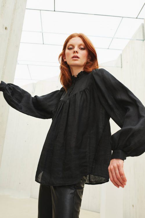 Sort 100% ramie viktoriansk bluse Katrin Uri - 442 vivienne ramie blouse