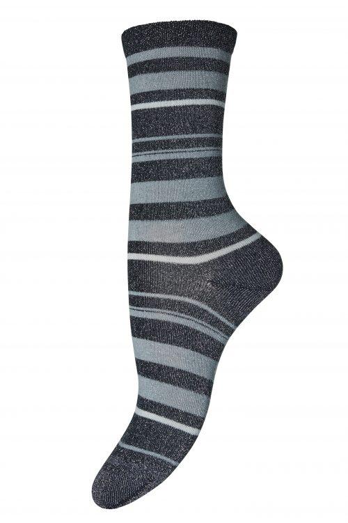 """Blåstripet eller brunstripet """"Ankle Elisa"""" sokker MP Denmark - elisa 50% Cotton, 28% Metallic, 18% Polyamide, 4% Elastane"""