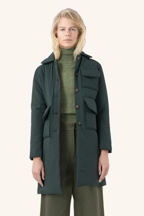 Grønn ytterjakke med 3 lommer Cathrine Hammel - 6512 light duvett long jacket