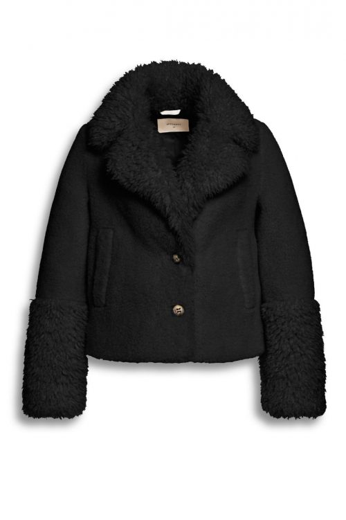 Offwhite eller sort faux fur jacket saueskinn Beaumont - BM5810203