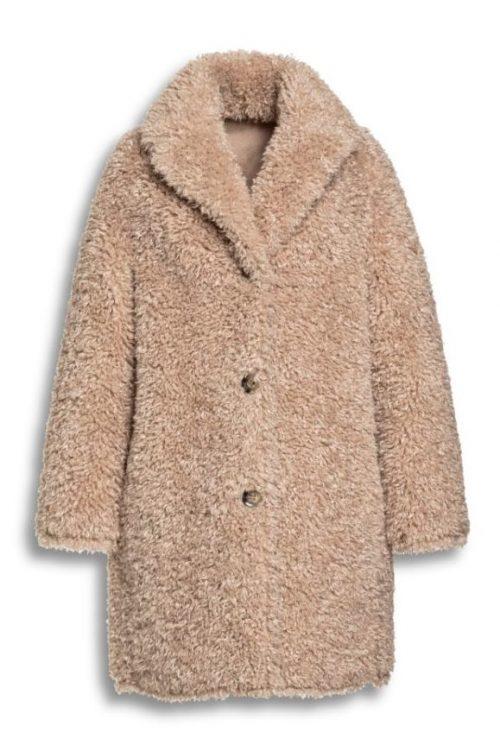 Sand faux curly fur vendbar krøllet lammekåpe Beaumont - BM5330203