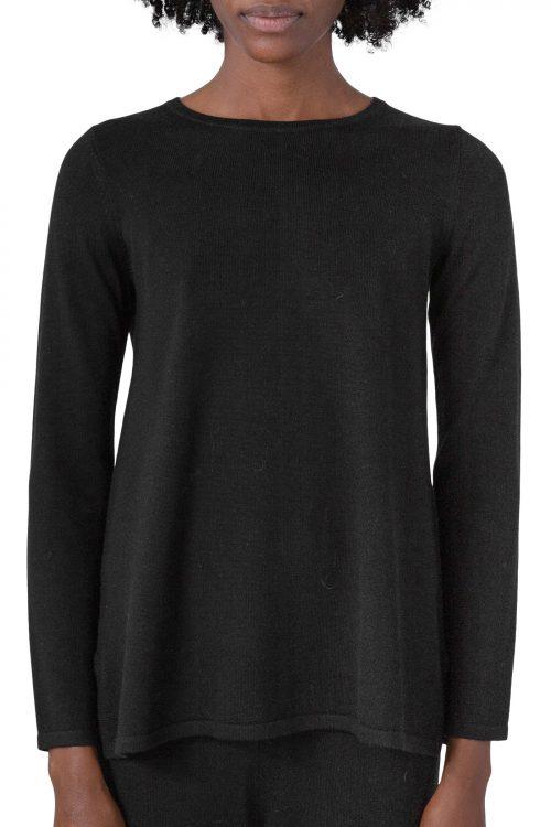 Sort 100% merino genser med splitt i siden Cathrine Hammel - 1002 a-line sweater