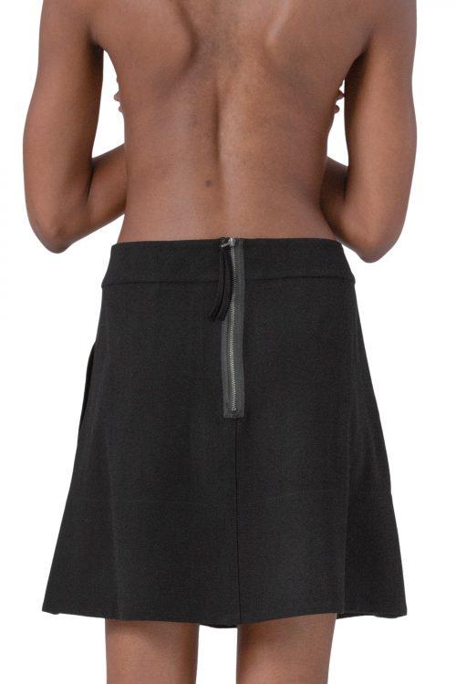 Sort a-line skjørt med grov glidelås Cathrine Hammel - 3072 flared short skirt