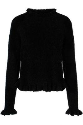 Sort eller light grey melange alpakka genser med volangkant Ella&Il - valeria